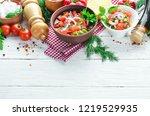 salsa sauce and ingredients.... | Shutterstock . vector #1219529935