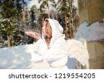 young blonde christmas angel... | Shutterstock . vector #1219554205