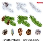 christmas trees and pine cones. ... | Shutterstock .eps vector #1219561822