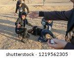 palestinian demonstrators... | Shutterstock . vector #1219562305