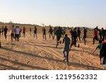 palestinian demonstrators... | Shutterstock . vector #1219562332