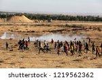 palestinian demonstrators... | Shutterstock . vector #1219562362