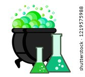 witch pot of boiling green... | Shutterstock . vector #1219575988
