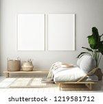 mock up poster frame in modern... | Shutterstock . vector #1219581712