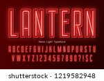 neon light 3d alphabet  extra... | Shutterstock .eps vector #1219582948