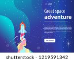 rocket launch into space. space ... | Shutterstock .eps vector #1219591342