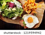english breakfast with bacon... | Shutterstock . vector #1219594942