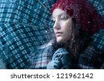Sad Woman With Umbrella On A...