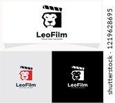 lion film logo design template | Shutterstock .eps vector #1219628695