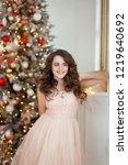 nice brunette girl with long... | Shutterstock . vector #1219640692