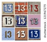 Stock photo collage of house numbers thirteen 121967275