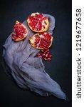 fresh red pomegranate | Shutterstock . vector #1219677658