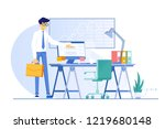 an office workplace for... | Shutterstock .eps vector #1219680148