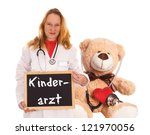 Doctor with teddy bear and sign with the german word Pediatrician / Pediatrician - stock photo