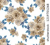 flower print in bright colors.... | Shutterstock .eps vector #1219701268