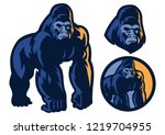 big muscle body of gorilla... | Shutterstock .eps vector #1219704955