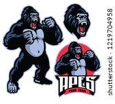 Stock vector angry gorilla mascot standing 1219704958