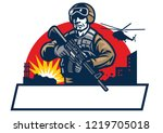 soldier mascot hold the assault ... | Shutterstock .eps vector #1219705018