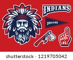 indian chief head mascot in set | Shutterstock .eps vector #1219705042