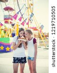 two teen girls making a silly...   Shutterstock . vector #1219710505