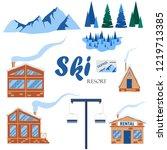 set of winter ski resort... | Shutterstock .eps vector #1219713385