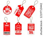 vector set  red tag price design | Shutterstock .eps vector #1219713442