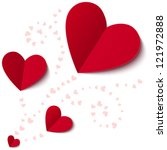 red paper hearts valentines day ... | Shutterstock .eps vector #121972888