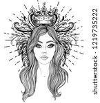 divine goddess. black and white ... | Shutterstock .eps vector #1219735222