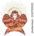 sirin  alkonost  gamayun... | Shutterstock .eps vector #1219735225