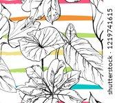 tropical  modern stripes motif. ...   Shutterstock .eps vector #1219741615