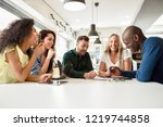 five young people studying with ... | Shutterstock . vector #1219744858