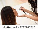 make up artist using aerograph... | Shutterstock . vector #1219745962