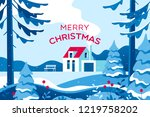merry christmas card with... | Shutterstock .eps vector #1219758202