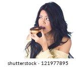 woman eating donut on white... | Shutterstock . vector #121977895