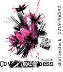 flower graphic prin for t shirt | Shutterstock . vector #1219796542