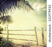 vintage palm background   Shutterstock . vector #121979932