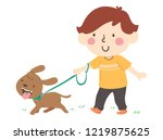 Stock vector illustration of a kid boy walking his pet dog 1219875625