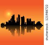 Stock vector doha vector silhouette skyline 121988722