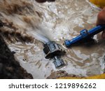 poly pipe or hdpe pipe leaking | Shutterstock . vector #1219896262