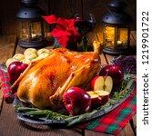 festive stuffed roast goose... | Shutterstock . vector #1219901722