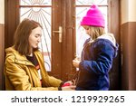 young mother helps her daughter ... | Shutterstock . vector #1219929265