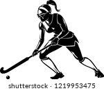 female field hockey shadow | Shutterstock .eps vector #1219953475