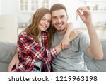 young happy couple hugging ... | Shutterstock . vector #1219963198