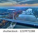 Beautiful panoramic aerial dsron view to Swietokrzyski Bridge (Polish: Swietokrzyski) and The PGE Narodowy or National Stadium - football stadium located in Warsaw, Poland, from dron DJI Mavic Air