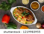 chicken and rice african food... | Shutterstock . vector #1219983955