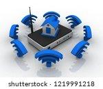 3d rendering transmitter wifi... | Shutterstock . vector #1219991218