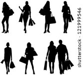 Women Shopping Silhouettes  ...