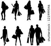 Women Shopping Silhouettes  ...