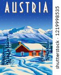 travel poster of austria.... | Shutterstock .eps vector #1219998535