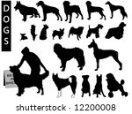 a collection of dog silhouettes ... | Shutterstock .eps vector #12200008